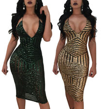Fashion Womens Backless Bodycon Party Club Mini Dress Sexy Long Sleeve Sequin
