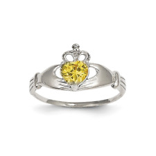 14k White Gold Yellow Synthetic Cubic Zirconia Polished Claddagh Ring - 11mm