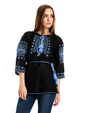 100% Linen Black Ukrainian Ethnic Embroidered Shirt Vyshyvanka Embroidery Blouse