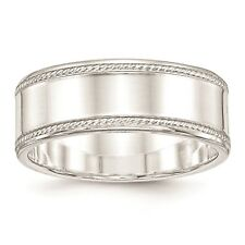 925 Sterling Silver Polished Edged Design 8mm Wedding Ring Band Size 4 - 12
