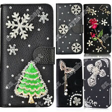 3D Crystal Rhinestone Christmas Style Bling Wallet Leather Flip Case Cover