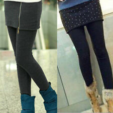 Women Winter Thick Comfy Fleece Lined Stretchy Skinny Leggings Pants With Skirt