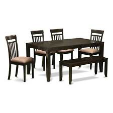 LYCA6-CAP 4-chair and Dining Bench 6-piece Kitchen Dining Set with Leaf