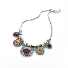 New Choker Necklace Fashion Ethnic Collares Vintage Silver Plated Colorful Bead