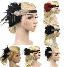 Vintage Women Tassel Beads Feather Flapper Headband 1920s Great Gatsby Headdress