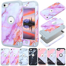 For iPod Touch 5/6th Gen Hybrid Case Marble Pattern Protective Hard Skin Cover