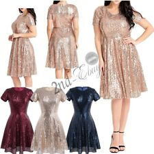 Sexy Women's A-Line Sequin Formal Prom Evening Cocktail Party Bridesmaid Dress
