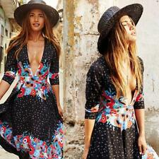 Women Casual Sexy Deep V-Neck Boho Bohemian Style Chiffon Beach Dress E456 02
