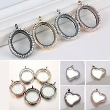 Round Heart Living Memory Floating Locket Charm Pendant Necklace + Free Chain