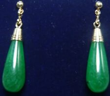 Ladies Gold Plated Natural Green Jade Earrings Drop Pendant Earring New Style