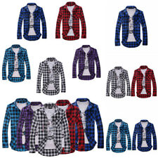 Mens Chequered Shirts Long Sleeve Button Front Slim Fit Casual Tops Blouse Tee