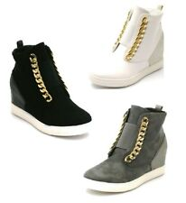 Womens Hidden Wedges Trainers Zip Up High Top Ladies Sneakers Ankle Boots Casual