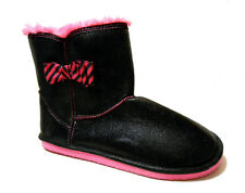 Womens Bootie Style Slippers/Shoes Black Pink Faux Fur Trim Sizes S M XL New
