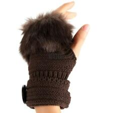 Fashion Winter Warm Women Button Faux Fur Knit Crochet Fingerless Gloves KECP