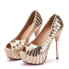 Gold High Heels 14cm  Wedding Bridal Shoes Sequins Evening Party Shoes 7 8 8.5++