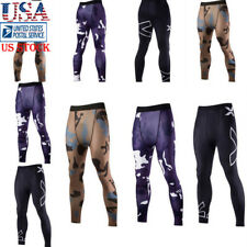 Mens Running GYM Stretch Leggings Fitness Compression Base Layer Pants Trousers