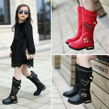Girls Kids Childrens Zip Up School Winter Casual Mid Calf Boots Shoes Size 26-37
