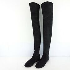 ISABEL MARANT BOOTS 36 37 Black Suede Leather Overknee Shoes NP 690 NEW