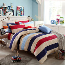 Striped Quilt Doona Duvet Cover Set Queen Single King Size Bed PillowCases Set