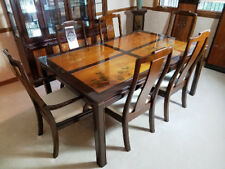 Universal Furniture Rosewood + Inlaid Carving Asian Dining Table + China Cabinet