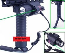 Tactical Foregrip Bipod + Combo Led Flashlight Red/Green Laser Sight 20mm Rail