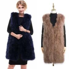 Women Vogue Furry Real Farm Ostrich Fur Coat Long Waistcoat Bridal Gilet Feather