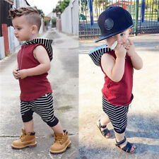2pcs Toddler Boys Baby Hooded Vest T-shirt+Short Pants Cute Outfits Summer Set