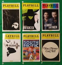 Phantom of the Opera - Wicked - Of Mice and Men - Book of Mormon Playbills  +++