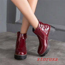 Patent Leather Women Girls Low Heel Ankle Bootie Boots Buckle Round Toe Size New