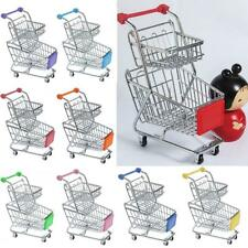 Miniature Metal Shopping Cart Storage Trolley Kids Pretend Role Play Game Toys
