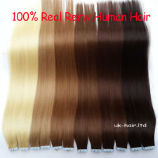 """16""""18""""20""""22"""" Tape In Remy Real Human Hair Extensions Skin Weft Full Head US I819"""