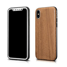 For iPhone X 8 7 Plus Luxury PU Leather Wood Grain Pattern Case Shockproof Cover