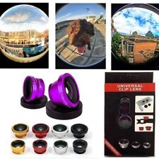 For iPhone 6S Plus 6 7 5S 4 3 in1 Fish Eye Wide Angle Macro Camera Clip-on Lens