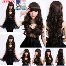 Womens Natural Hair Wig Long Wavy Curly Hair Bang Cosplay Anime Full Wig Wigs