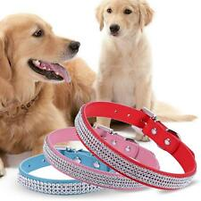 Synthetic Leather Dogs Pets Harness Shiny Rhinestone Pet Collar E456
