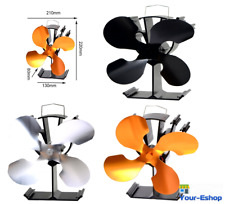 Heat Powered Stove Top Fan 4 Blades For Wood Log Burner Fireplace Woods Burning