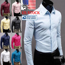 US Mens Slim Fit Front Button Shirt Long Sleeve Formal Dress Shirts Casual Tops