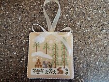 "Finished Completed Cross Stitch ""SNOWY FRIENDS"" Door Hanger or Ornament"