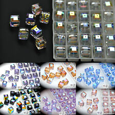 2PCs #5601 Swarovski Crystal 8mm Cube Square Beads AB coating assorted colors