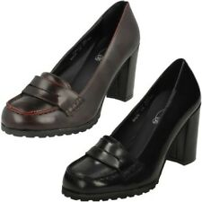 Ladies Spot On Synthetic Slip On Heeled Court Shoe