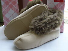 NIB Charter Club Tan Latte Faux Fur Hard Bottom Small Bootie Slippers