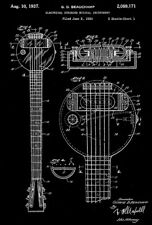 1937 - Rickenbacker Frying Pan Lap Steel Guitar - Beauchamp - Patent Art Poster