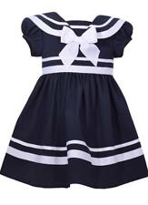 Bonnie Jean Navy Blue Nautical Sailor Theme Dress with White Bow Girls Baby New