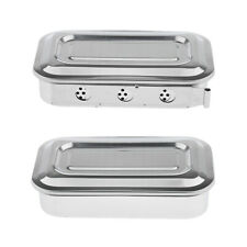 8'' Stainless Steel Instrument Tray With Lid Medical Dental Storage Box Case