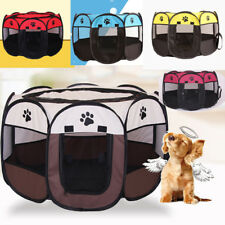 Pet Dog Cat Playpen Tent Portable Exercise Fence Kennel Cage Folding Crate CA