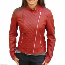 Womens Leather Motorcycle Jacket genuine lambskin Red quilted biker coat # 245