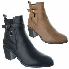 LADIES WOMENS MID BLOCK HEEL BUCKLE STRAP ZIP UP CHELSEA ANKLE BOOTS SHOES SIZE
