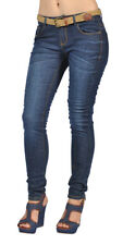Stretch Denim Womens Belted Skinny High Fashion Jeans Dark Wash