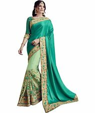 Bollywood Sari India Half Georgette & Net Fabric Craft Embroidered Wedding Saree