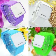 Faceless Mirror Watch Men Lady Sport Digital Date Wrist Watch LED MSF